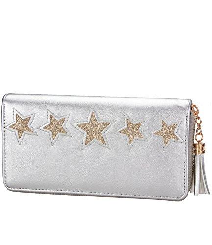Caripe Geldbörse Damen groß Glitzer Sterne Vintage Portemonnaie lang Reißverschluss - skyfl3-28 (76-10 - silber)