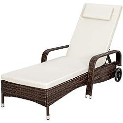 TecTake Tumbona chaise longue de poli ratán tumbona de jardín silla de terraza negro marrón