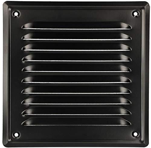 KOTARBAU - Rejilla de ventilación 165 x 165 mm, enroscada, barnizada, para chimenea, color negro, resistente a la corrosión