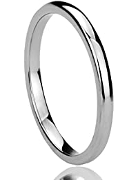 2MM Titanium Comfort Fit Wedding Band Ring High Polished Classy Domed Ring