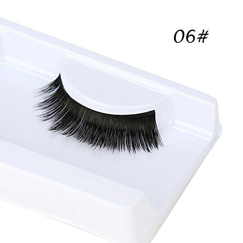 ✿Higlles 3D Faux Cils, Faux Cils Fait à la Main Faux Cils Naturel Volume Réutilisable pour le Maquillage 1 Paire Faux Cils Naturel