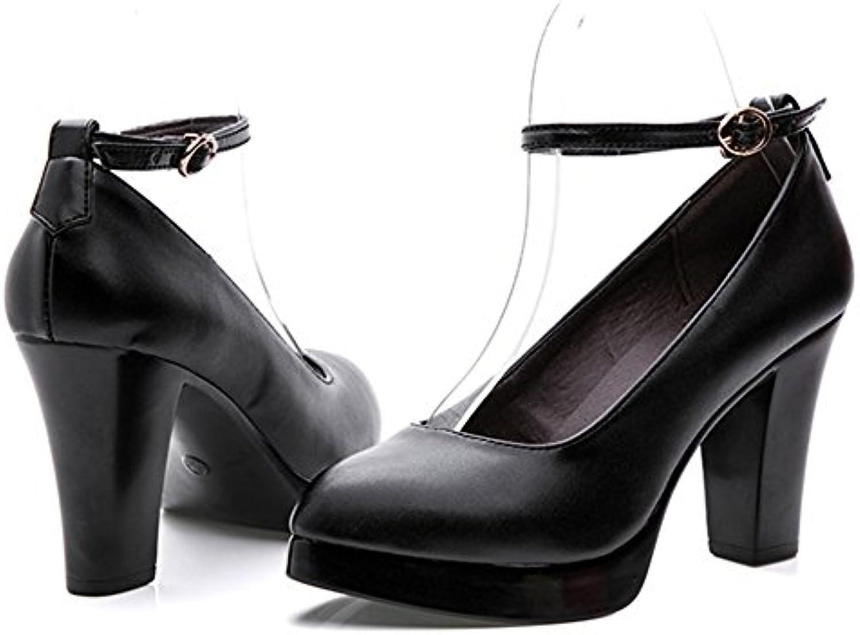 YR-R Zapatos Bajos De La Mujer Plataforma Bombas Tobillo Correa Cerrada Toe Tacones Altos Para Damas Vestidos...