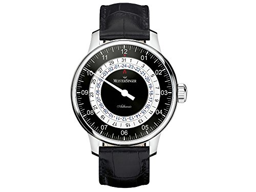 MEISTERSINGER MEN'S ADHAESIO 43MM BLACK LEATHER BAND AUTOMATIC WATCH AD902
