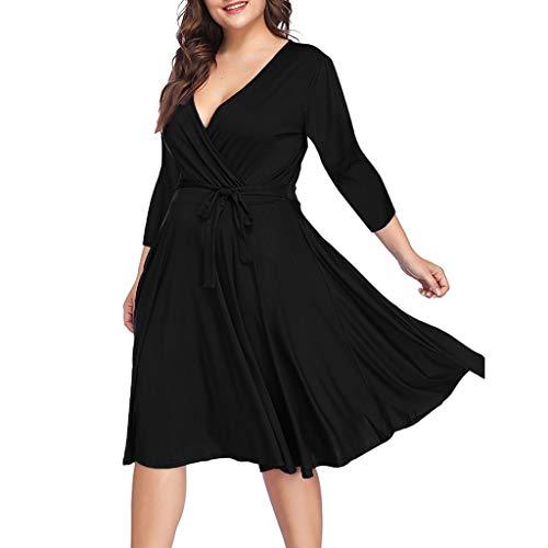 AIni Robe De Femme, Robe Taille Grande à Manches Courtes Et à Encolure en V De Couleur Unie-Casual Ete Plage Simple(XL,Noir)