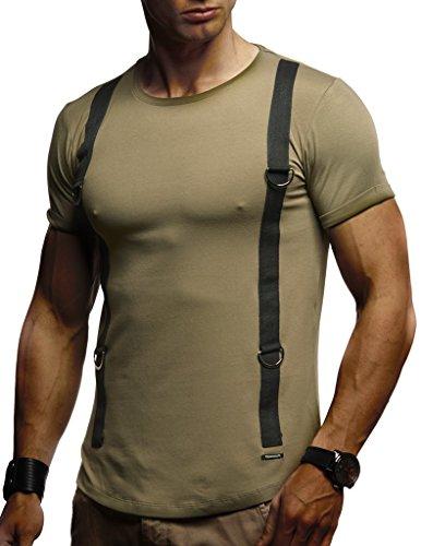 LEIF NELSON Herren Jungen Männer T-Shirt, Crew Neck, Khaki, Small |