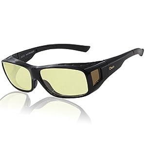 DUCO Blaufilterbrille Blaulicht und UV Schutzbrille Computerbrille Gaming Brille Überziehbrille für Brillenträger Fit-over Brille