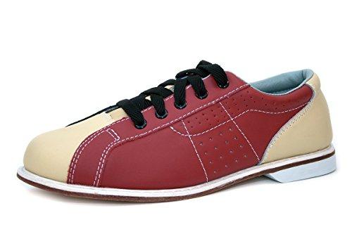 Bowlio Bowlingschuhe - Leder Leihschuhe in Blau und Rot, Größe:45, Farbe:Blau/Beige/Rot