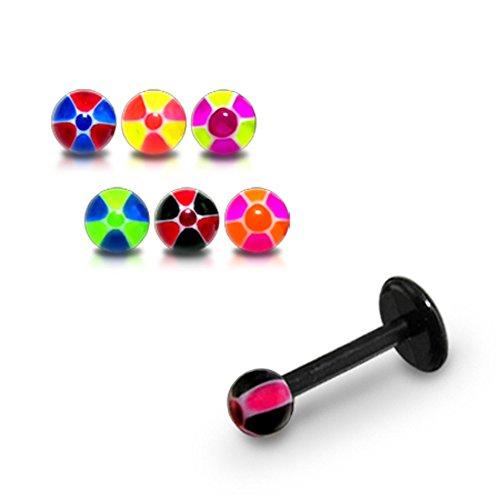 10 pièces Pack Mix couleur fantaisie UV Radio Active boules avec Labret lèvre Flexible 16Gauge(1.2mm) UV