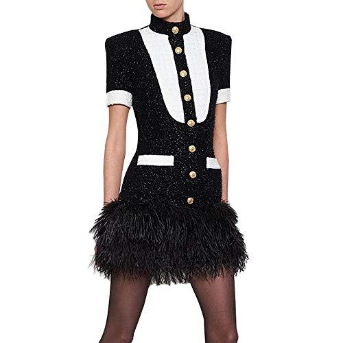 QUNLIANYI Abendkleid Kleid Damen Kurzarm Schwarz Weiß Farbe Block Löwe Knöpfe Ball Kleid Saum Feder Verziert Tweed Kleid S -