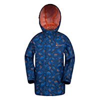 Mountain Warehouse Verve Printed Kids Waterproof Jacket with Mesh Lining - Zipped Side Pockets and Elasticated Hood - Lightweight for Summer Days