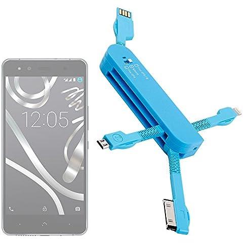 DURAGADGET Multi-Cargador Azul para Smartphone BQ Aquaris U Lite / U Plus / U / X5 Plus - MicroUSB - Conexiones Apple - USB