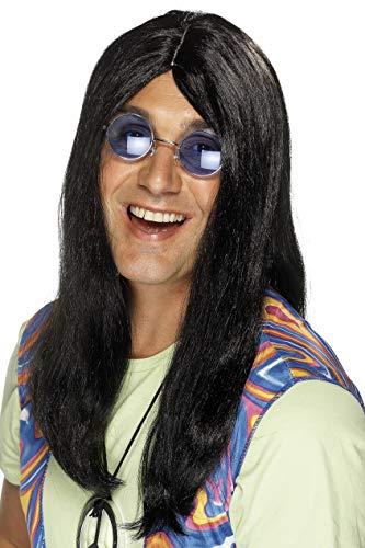 Smiffys, Herren Hippie Perücke mit Seitenscheitel, One Size, Schwarz, 42216 (Make-up Für Kostüm Hippie)