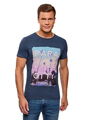 Oodji ultra uomo t-shirt con stampa estiva, blu, it 50-52 / eu 52-54 / l