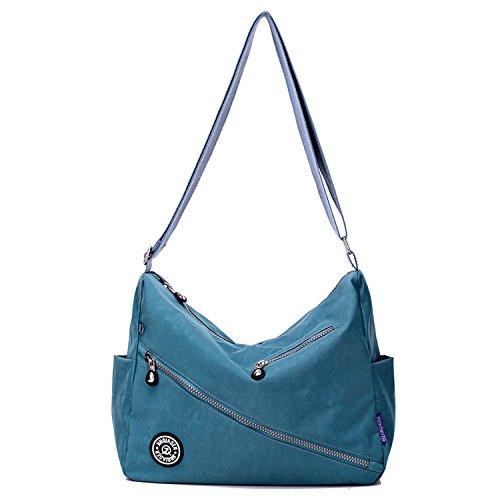 MeCooler Kuriertasche Lässige Umhängetasche Wasserdicht Taschen Damen Leichter Messenger Bag Schultertasche Mode Sporttasche für Designer Reisetasche Blau 4