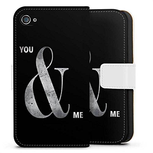 Apple iPhone X Silikon Hülle Case Schutzhülle You & Me Freundschaft Spruch Sideflip Tasche weiß