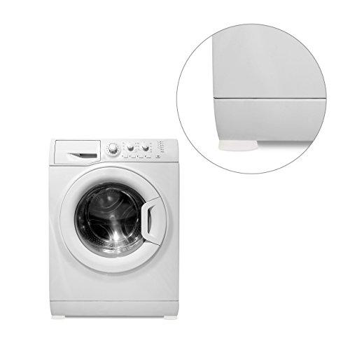 Relaxdays Set 4 Piedini di Gomma Ammortizzanti antigraffio per lavatrice, colore bianco