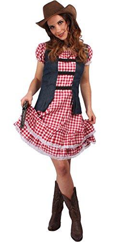 Cowgirl Kostüm rot-weiß für Damen | Größe 34 | 1-teiliges Western Kostüm | Wilder Westen Faschingskostüm für Frauen | Sheriff Verkleidung