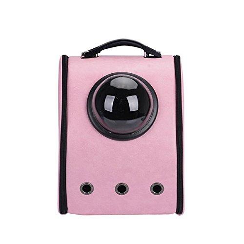 Perro gato PET astronauta cápsula mochila Carrier Box con transparente cubierta transpirable-rosa