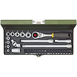 Proxxon 23078 Ratsche/Steckschlüssel/Feinmechaniker – Set und MICRO-Kompaktratsche, Steckschlüsseleinsätze, Standardbits, Adapter, Verlängerungen stabilem Stahlkasen, 1/4 Zoll, 32- teilig