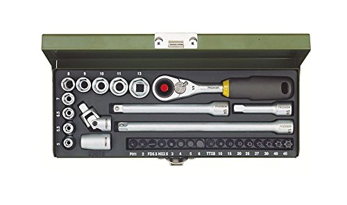 Proxxon 23078 Ratsche/Steckschlüssel / Feinmechaniker – Set und Micro-Kompaktratsche, Steckschlüsseleinsätze, Standardbits, Adapter, Verlängerungen stabilem Stahlkasen, 1/4 Zoll, 32-teilig