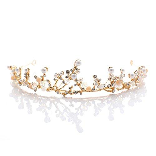 aukmla corona boda barroco Tiara princesa estilo accesorios para el pelo de oro para bailes, fiestas cumpleaños