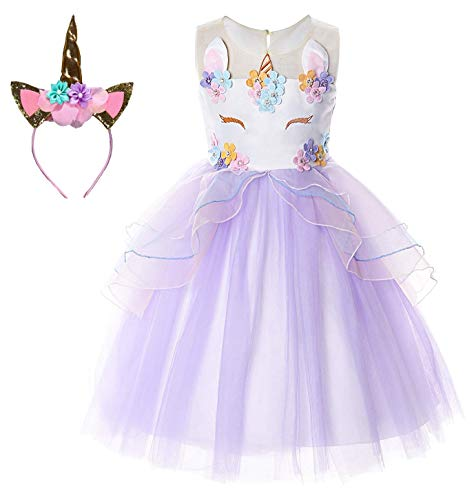 Le SSara Unicorn Kostüm Kleider Pageant Party Kleider Blumenabende Kleider Tutu Dress (120, E44-purple)