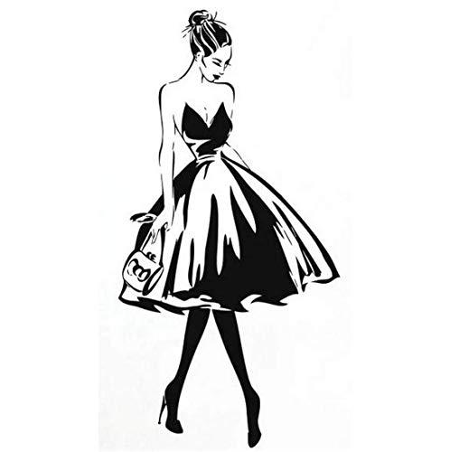 Wandtattoo Frau Gesicht Mode Stil Vinyl Wandaufkleber Kleidung Boutique Kostüm Design Wand Poster Schönheitssalon Dekoration 57x112 cm (Einfach Elsa Kostüm)