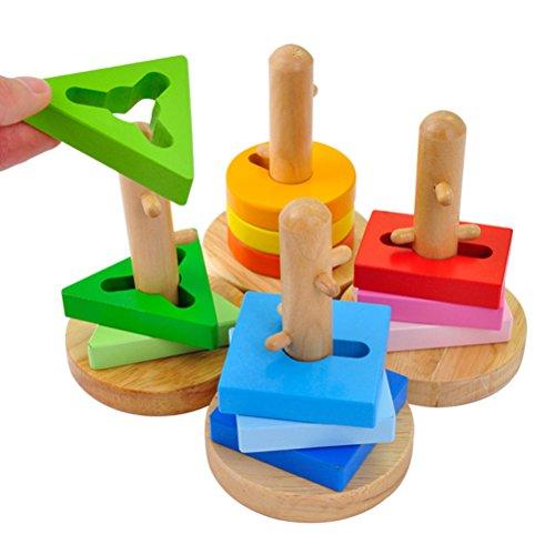 ACOOLTOY Stacker Geometric Intelligence of Hollow Blocks Order Set Geometric Shapes (Column Set) Para Ninos mayores 18 meses