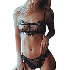 MORCHAN❤Delicate Women en Forme de Coeur Push Up Top Bra Charmant Mesh Underpant Set Lingerie Sexy️