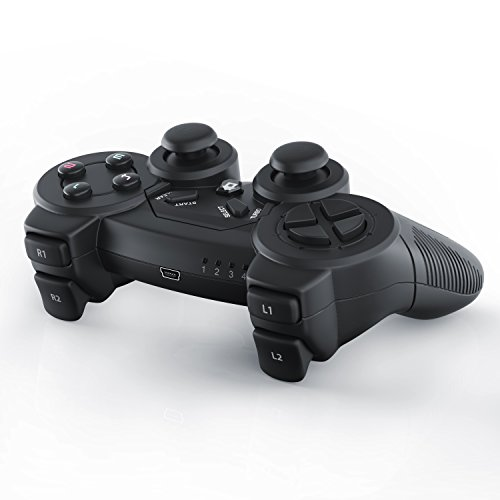 CSL - Manette de jeu pour PC | sans fil / wireless | Dual Vibration compris | Manette Joypad | Plug-and-Play | noir