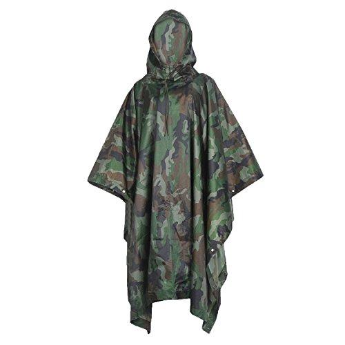 Multifunction Emergency Rain Poncho - Lightweight Camouflage Slicker Ripstop Rainwear - Perfect for Hiking Hunting Camping Rose