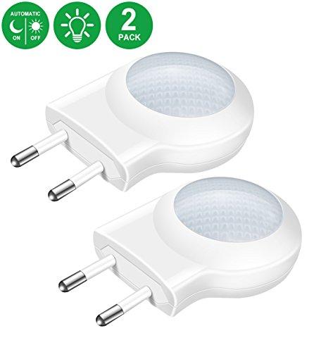Minger 0.7W Mini Veilleuses LED avec Prise de Capteur de Lumière, UE Douille Lampe de Capteur Automatique, Lampe Murale pour Les Sous-sol, Les Chambres d'enfants Bébé, Blanc, 2 Pcs