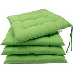 Zollner 4er Set Stuhlkissen Sitzkissen, ca. 40x40 cm, grün (weitere verfügbar), für drinnen und draußen, Serie Mali