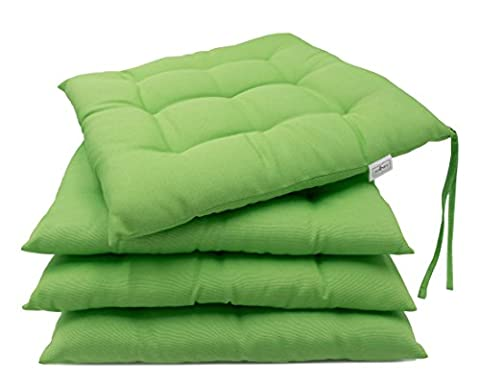 ZOLLNER® 4er-Set Stuhlkissen / Sitzkissen für drinnen und draußen, grün Größe ca. 40x40 cm, in verschiedenen Farben erhältlich, vom Hotelwäschehersteller, Serie