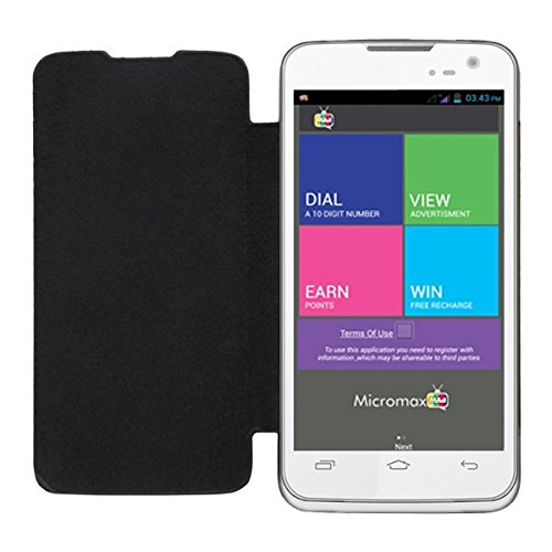 Acm Leather Diary Folio Flip Flap Case For Micromax Canvas Mad A94 Mobile Front & Back Cover Black  available at amazon for Rs.329