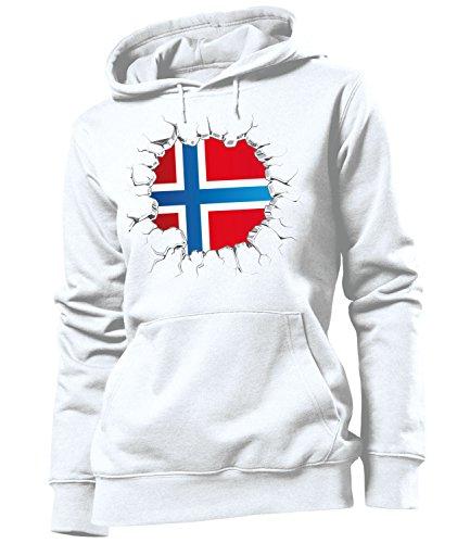 love-all-my-shirts Fussball Norwegen 5766 Fanhoodie Frauen Damen Hoodie Pulli Kapuzen Pullover Fanartikel Kapuzenpullover Weiss S (Norwegen Fußball Trikot)
