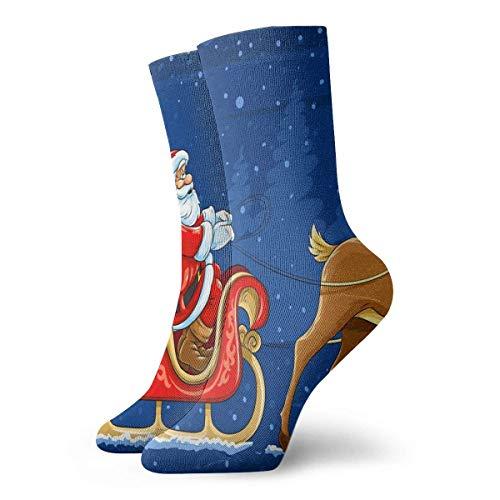 REordernow Sportliche Herrensocken Crew Socks Santa Sleigh Christmas Holiday Deer Amazing Womens Casual Stocking Gift Sock Clearance for Man