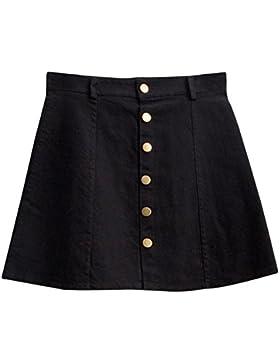 OuYou Faldas para Mujer Básica Mini Faldas Vaqueras Mezclilla Verano Minifalda Corta de Cintura Alta con Botones...