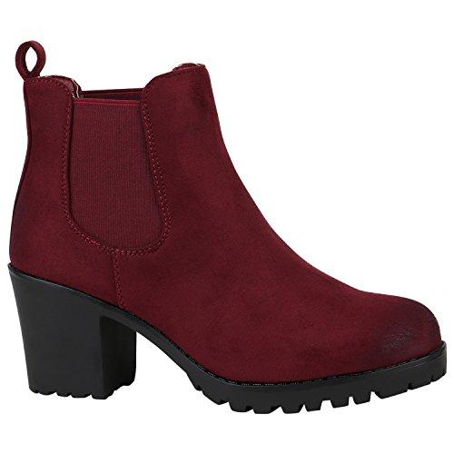 Stiefelparadies Damen Stiefeletten Wildleder-Optik Glitzer Chelsea Boots Animal Prints Profilsohle Knöchelhohe Stiefel Flandell Dunkelrot Velours