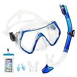 Supertrip Premium Schnorchelset Erwachsene_Taucherbrille mit Schnorchel gehärtete Anti-Beschlag Gläser Taucherbrille