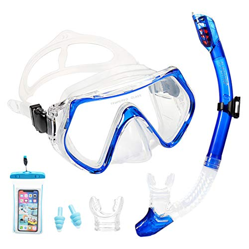 Supertrip Premium Schnorchelset Erwachsene_Taucherbrille mit Schnorchel gehärtete Anti-Beschlag Gläser Taucherbrille Wasserdichte Tauchmaske und trockenem Schnorchel Set mit 2 Mundstück(Blau)