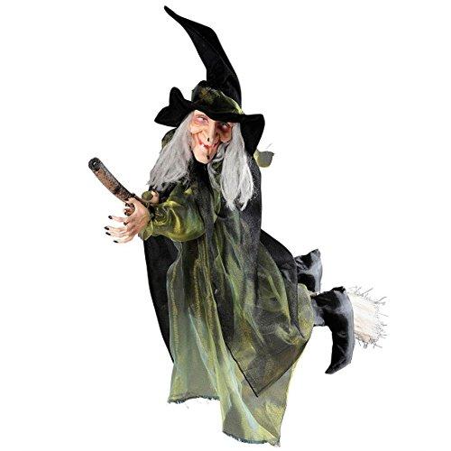 NET TOYS Fliegende Hexe mit Besen Halloween Figur 100 cm Hexen Dekoration Hexenfigur mit Besen Magierin Schocker Deko Horror Raumdekoration