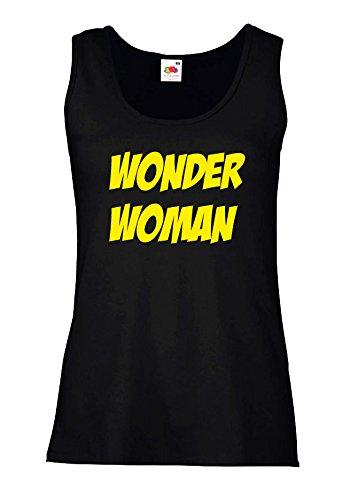 """Canotta Donna """"Wonder Woman"""" - 100% cotone LaMAGLIERIA, S, Nero"""