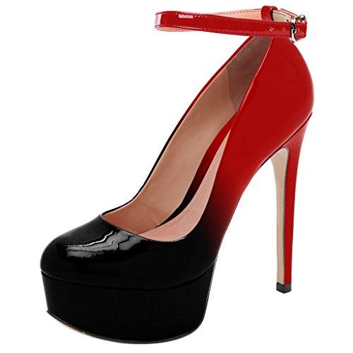 Guoar High Heels Große Größe Abendschuhe Round Toe Lack Ankle Strap Pumps mit Plateau Club Party Hochzeit Rot Und Schwarz