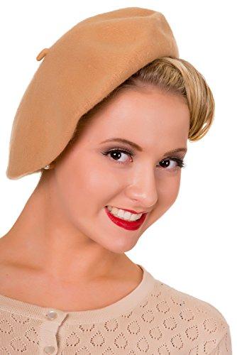 Banned Prohibido Claire Vintage Retro boina gorro Beige beige Talla única
