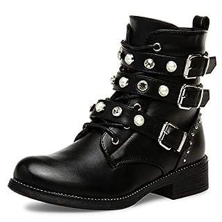 Caspar SBO088 Damen Vintage Stiefeletten mit Strass und Perlen, Farbe:schwarz, Größe:38 EU