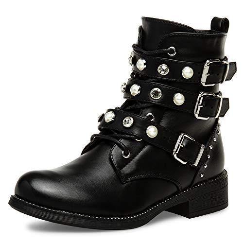 Caspar SBO088 Damen Vintage Stiefeletten mit Strass und Perlen, Farbe:schwarz, Größe:37 EU