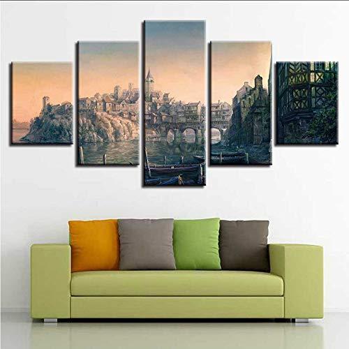 chellonm Leinwand Poster Home Decor 5 Stücke Witcher Bilder Spiel Abstrakte Hafen Schiffsbau Malerei Modulare Wandkunst kein Rahmen