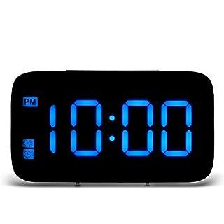 ABEDOE Alarm Clocks Bedside Non Ticking, Digital LED Cube Clocks Battery Operated, Voice Control (Blue)