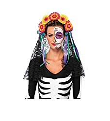 Day Of The Dead Flowered Headband Lace Veil 2726